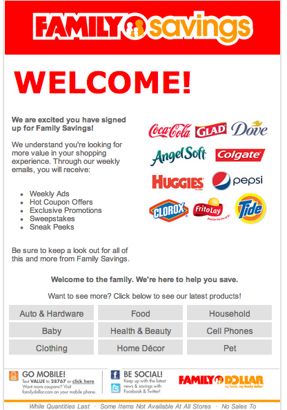 Family Dollar Welcome email