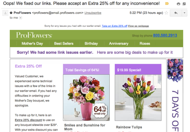 proflowers oops email